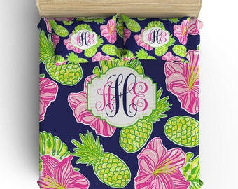 PINEAPPLE BEDDING Comforter, Duvet Cover, Hibiscus Pineapple Pillowcase, Navy Lime Pink, Toddler Twin Queen King, Monogram Bedding Set