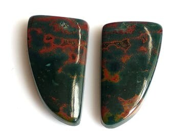 Blood Stone,Fancy Pair, Cabochon, Size-21X12 MM Natural, Blood Stone, AAA, Quality,Loose Gemstone, Smooth Cabochons.