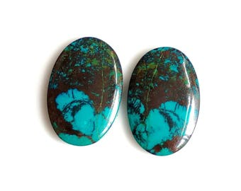 Azurite Oval Pair Cabochon,Size- 22x14, MM, Natural Azurite, AAA,Quality  Loose Gemstone, Smooth Cabochons.