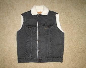 Vintage Rorbucks Black denim JACKET Vest size.M