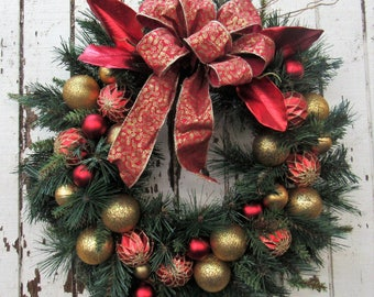 Ready to Ship - Red and Gold Tree Trimmings Holiday Wreath with Red and Gold Balls adorned with a Red and Gold Bow