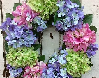 Beautifully Designed Hydrangea Wreath with Hot Pink, Lavender and Light Green Hydrangeas - Ready to Ship