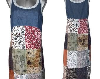 Vintage 90s Hippie Patchwork Dress Maxi Boho Summer Gipsy