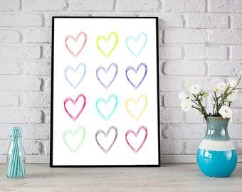 Haert Print, Instant downlod, Heart Wall art, Colorful heart Print, Nursery wall art, Printable kids art, Nursery decor, Hearts nursery art