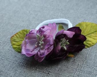 Purple floral nylon headband