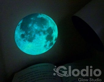 Glow in the Dark Moon Sticker - Glows Aqua All Night - Stunningly Realistic - Must-Have Accessory for your Realistic Glodio Star Ceiling