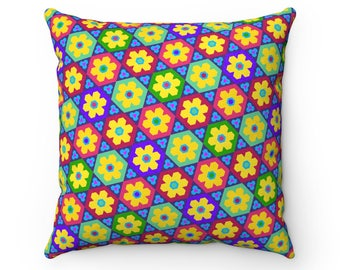 CreamcupflowerPatternPillow  Faux Suede Square Pillow
