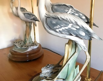 Pair Of Vintage Capodimonte Heron Table Lamps