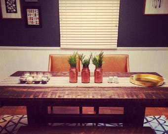 Rustic Pededstal Farmhouse Table