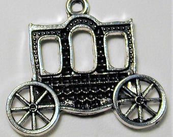 7 Old Fashioned Antique Silver Carriage Charm  C165