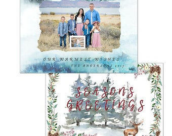 Watercolor pine tree Christmas holiday greeting card template photography digital printable