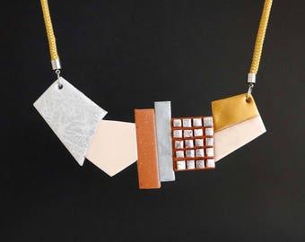 "NECKLACE #1 ""Tetris"" polymer clay art jewel"