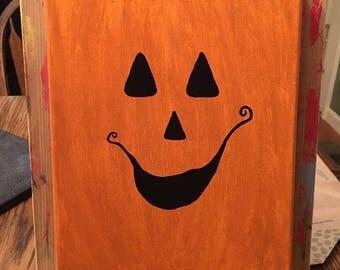 8x10 Jack O Lantern Acrylic Painting on Canvas