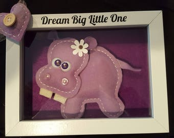 Dream Big, Purple Hippo, baby hippo, baby's room, wall decor, nursery, wall hanging, baby gift, baby shower, love, heart, animal picture.