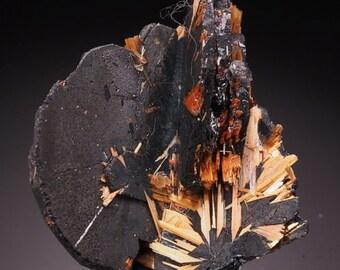 Rutile titanium on hematite 8.6 grams - RUTILE on HEMATITE aesthetic specimen