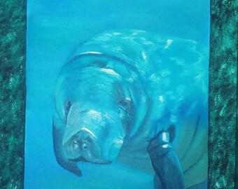 16x20 inch manatee painting