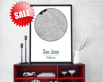 SAN JOSE Canvas map San Jose map art Canvas Map Art CA canvas wall art California Poster Giclée California Print San Jose Poster City Map