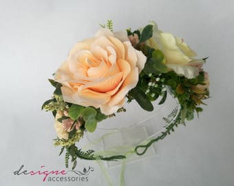 Peach flower crown Peach floral crown Peach headpiece Cream flower crown Bridal flower crown Summer wedding flower crown Festival crown