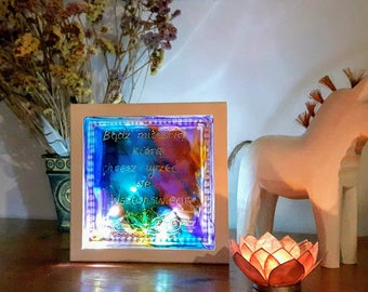Lighted Artistic LED Glass Block Hand Painted Lamp