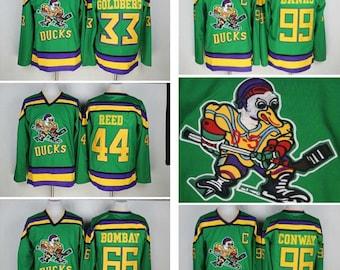 90s Reworked Mighty Ducks Movie Custom Hockey Jersey Green, Banks, Conway, Reed, Bombay, Goldberg, Kariya, Selanne Mighty Ducks Jersey Green