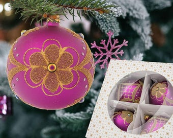 Bauble flower tree-handmade purple balls-nice baubles decor-pack of 4 baubles-poland glass baubles-royal glass ball-poland christmas art-100