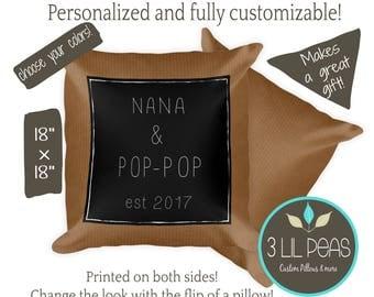 Grandparents Gift, Gift from Grandchildren, Personalized Grandparents Pillow, Custom Grandma Pillow, Custom Nana Gift, Pop-Pop Gift, Oma Opa
