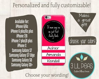 Personalized Aunt Phone Case, iPhone case for Auntie, Aunt Gift, Birthday gift for Aunty, Cell Phone Case Personalized, Grandma Gift