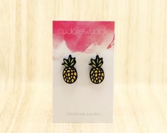 Cute Statement Acrylic Pineapple Fruit Stud Earrings