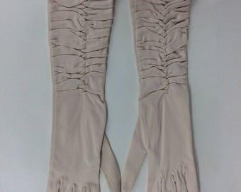 Vintage 1960's pale pink ruched mat satin gloves