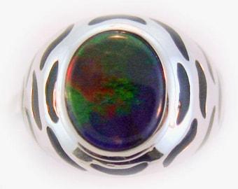 Tiger Design Ammolite ring set in 14k White Gold.