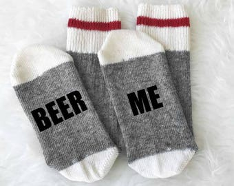 If You Can Read This Beer Me - Beer Me Socks - Merino Wool - Camping Socks - Boot Socks - Christmas Gift - Gift under 15 - Gift For Him