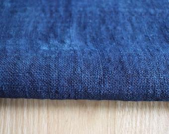 Hmong hemp EXTRA WIDE - Handwoven natural dye fabric soft cool hill tribe organic - Dark blue