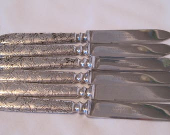 Simply Delightful a Second Set of Six (6) silverplate embossed foliate handle Fruit Knives