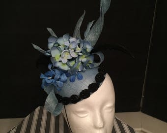 Beautiful blue sinamay hat for wedding ladies days