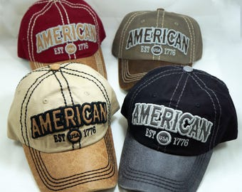 American Hat, Embroidered hat, vintage hat