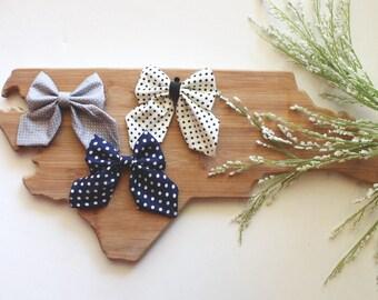 Hair bow pack - sailor bow pack - sailor bow - baby gift idea - baby shower gift - polka dotted bow - nylon headband with bow