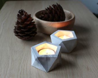 Set of 2 Concrete mini planters Candle holders Marble effect Concrete vessels Geometric design