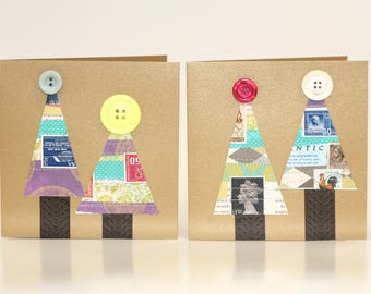 Button Christmas Tree Cards