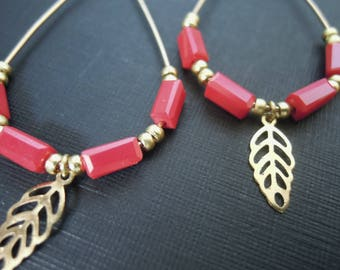 Drop earrings gold and red beads/glass/red/gold/leaf/dangling/made handmade/gifts for women
