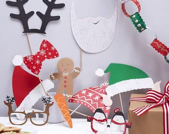 Festive Family Photo Booth Props, Christmas Party Props, Christmas Photo Booth Props, Christmas Party Decor, Christmas Props, Photo Props