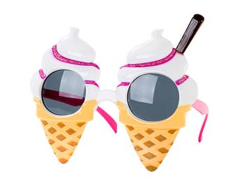 Ice Cream Sunglasses, Party Glasses, Party Props, Summer Props, Ice Cream Party, Photo Booth Props, Birthday Props, Birthday Glassess