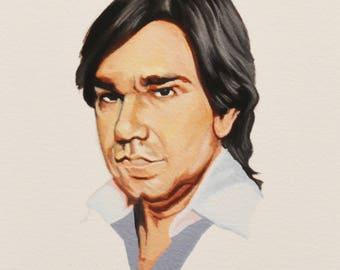 MATT BERRY, Star of Toast of London, Celebrity Portrait, Dr Sanchez from Garth Marenghi's Darkplace, TV Show Art, Giclee, Gouache Painting