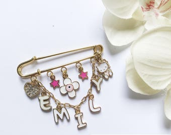 Personalized Baby Pin, Stroller Pin, Baby Brooch, Baby Name, Baby Girl