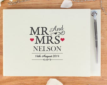 Personalised Mr and Mrs Guest Book & Pen - Guestbook - Wedding day guest book - Wedding