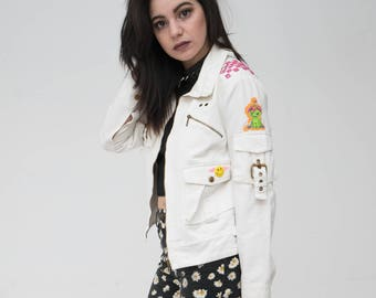 Nostalgia White Denim Jacket ONE OF A KIND vintage patched and studded White Denim Jacket size medium