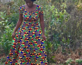 Kente Print/Ankara maxi dress