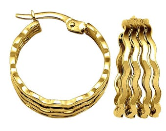 """14k solid yellow gold thick wavy hoop earrings(0.75""""/2.4gr)"""