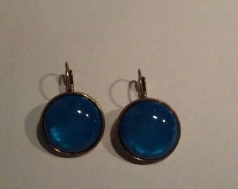 Earrings with Big Blue stone