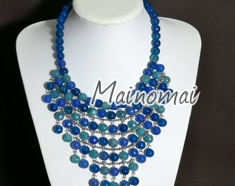 Angele necklace, blue agate and French agate, mounted in stainless steel