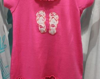 Flamingo Flip Flops Girls' Dress // Little Girls' Dress // Swim Coverup // Girls Beach Dress